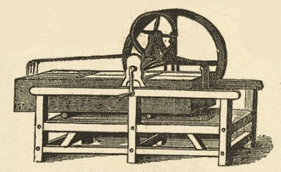 Box mangle with wheel, gears and handle