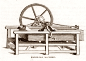 Drawing of box mangle labelled mangling machine