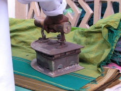 Box iron with wooden handle pressing bright cloth