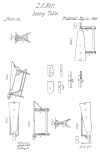 1866 patent drawing for folding ironing board with bonnet blocks