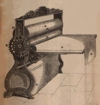 Upright mangle with rollers and mangle-cloth