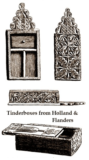 antique tinderboxes with folk wood carving