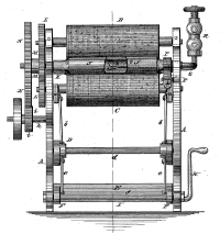 Mangle with large rollers, gears and gas tap