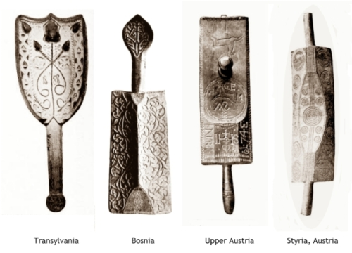mangling boards from Transylvania, Bosnia, Upper Austria and Styria