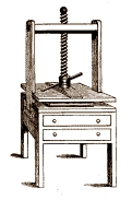 linen press with two drawers and screw mechanism above