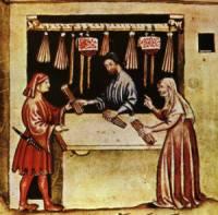 Selling bundles of candles depicted in medieval illustration
