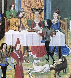 Fine tablecloth with even creases at medieval feast