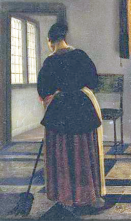 Woman servant, sweeping brush, tiled floor