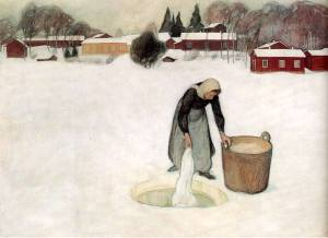 woman dipping laundry into Finnish ice hole