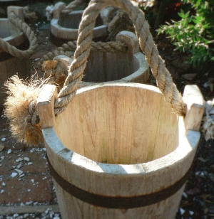 wooden buckets coopers galvanized pails of water from the well