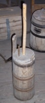Wooden upright plunge or dash churn with dasher staff and lid
