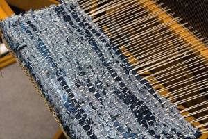 Blue Fabric Strips And Neutral Yarn Warp On Loom Rag Rugs